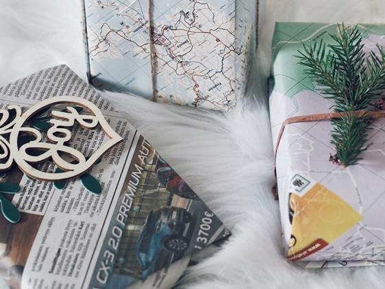 Joululahjat kierrätetyissä papereissa